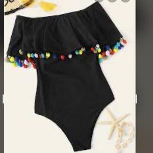 Pompom XL(14/16) Off/On Shoulder Pompom Swimsuit